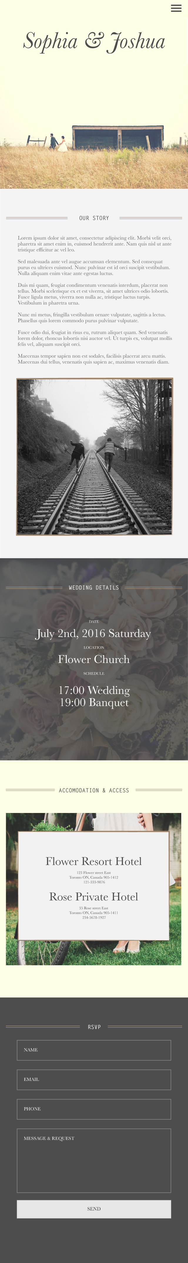 Wedding Invitation Mobile site prototype